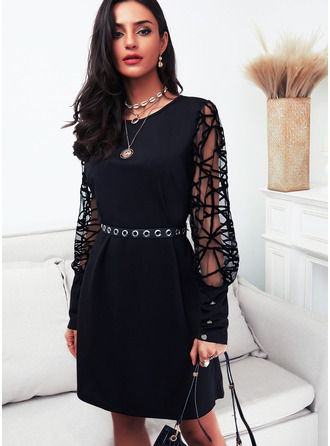 Solid Sheath Round Neck Long Sleeves Midi Little Black Party Dresses