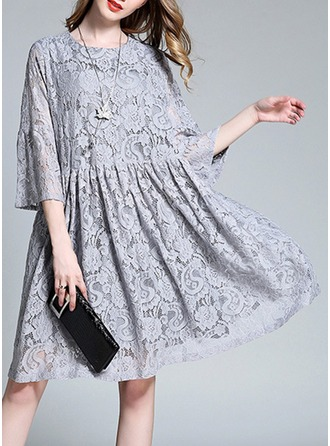 Lace With Lace/Stitching/Print Knee Length Dress