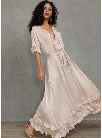 Polyester/Spandex With Button/Ruffles/Solid Maxi Dress