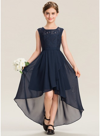 Scoop Neck Asymmetrical Chiffon Lace Junior Bridesmaid Dress With Bow(s) Cascading Ruffles