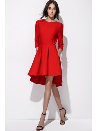 A-Line/Princess Scoop Neck Asymmetrical Cotton Blends Cocktail Dress