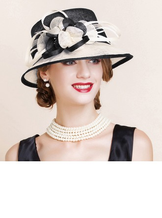 Ladies' Beautiful/Glamourous/Elegant/Eye-catching Cambric With Feather Bowler/Cloche Hats