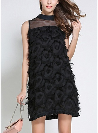 Chiffon With Tassel/Stitching/Hollow/Crumple/See-through Look Above Knee Dress