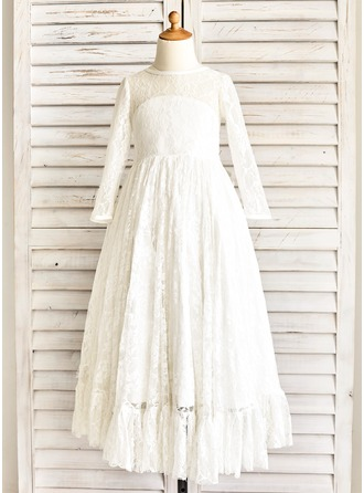 A-Line/Princess Floor-length Flower Girl Dress - Satin/Lace Long Sleeves Scoop Neck With Sash