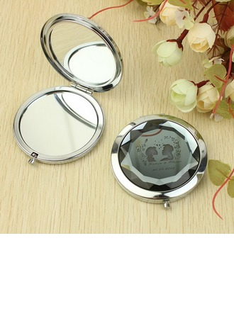 Personalized Bride And Groom Stainless Steel Compact Mirror