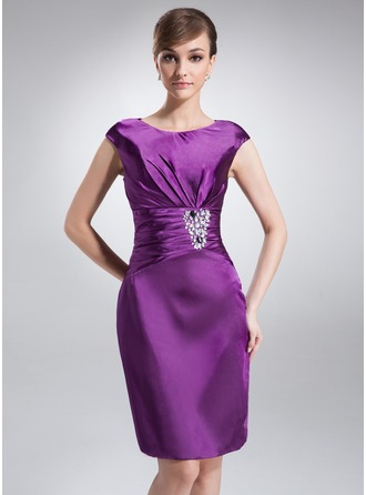 Sheath/Column Scoop Neck Knee-Length Charmeuse Mother of the Bride Dress With Ruffle Beading