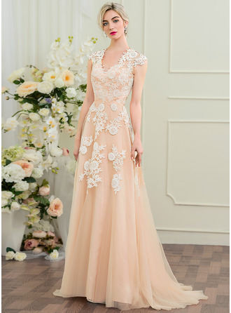 A-Line/Princess V-neck Sweep Train Tulle Lace Wedding Dress