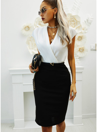 Color Block Bodycon V-Neck Short Sleeves Midi Elegant Pencil Dresses