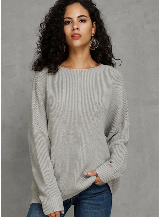 Ribbed Chunky knit Solid Polyester Round Neck Pullovers Sweaters