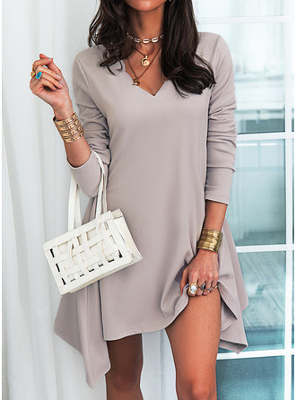Solid Shift V-Neck Long Sleeves Midi Casual Tunic Dresses