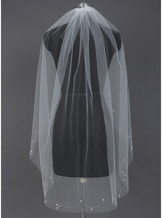 One-tier Fingertip Bridal Veils With Cut Edge