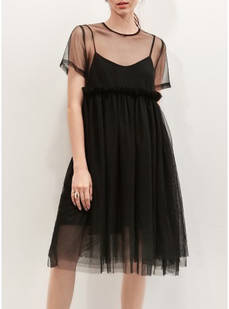 Polyester With Stitching/Ruffles Knee Length Dress