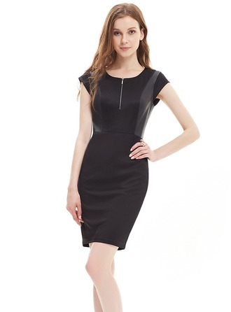 Ponte-de-roma With Stitching Above Knee Dress