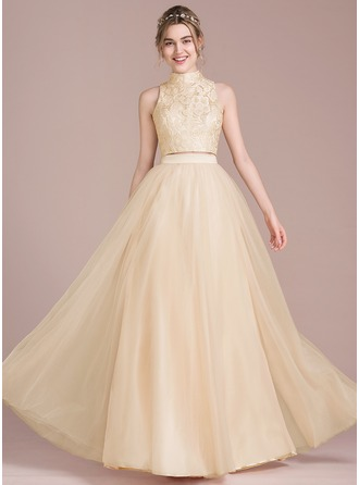 A-Line/Princess Scoop Neck High Neck Floor-Length Tulle Prom Dress