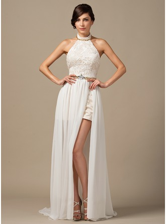 Halter Court Train Chiffon Lace Prom Dresses With Beading