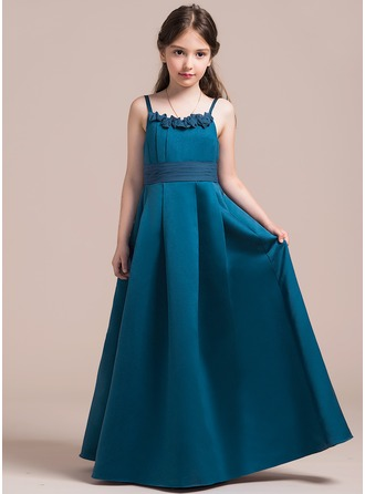 A-Line/Princess Scoop Neck Floor-Length Satin Junior Bridesmaid Dress With Ruffle Flower(s) Bow(s)