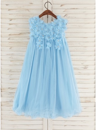 Knee-length Flower Girl Dress - Tulle Sleeveless Scoop Neck With Flower(s) Rhinestone