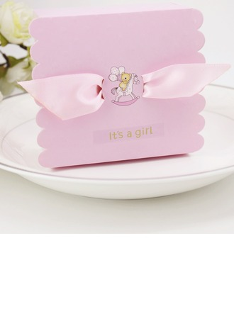 Baby's Day Out Cubic Card Paper Favor Boxes With Ribbons