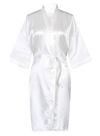 Bride Bridesmaid Polyester With Knee-Length Satin Robes