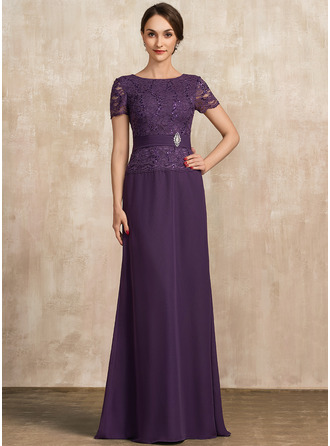Scoop Neck Floor-Length Chiffon Lace Mother of the Bride Dress With Ruffle Crystal Brooch Sequins