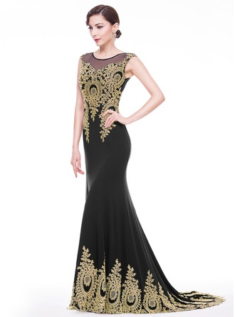 Trumpet/Mermaid Scoop Neck Court Train Jersey Evening Dress With Appliques Lace
