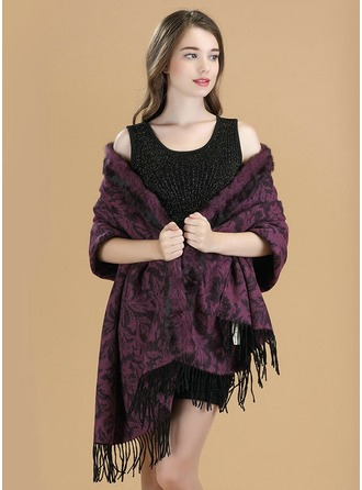 Solid Color Cold weather Wool/rabbit hair Poncho