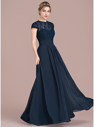 A Line Princess Sweetheart Floor Length Chiffon Lace Bridesmaid Dress With Ruffle