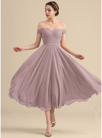 A-Line Off-the-Shoulder Tea-Length Chiffon Lace Bridesmaid Dress With Beading Sequins