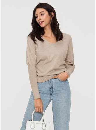 Plain Polyester V-neck Sweater Sweaters