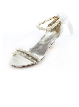 Women's Satin Low Heel Peep Toe Sandals With Imitation Pearl