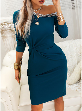 Sequins Solid Bodycon One Shoulder Long Sleeves Midi Elegant Little Black Pencil Dresses