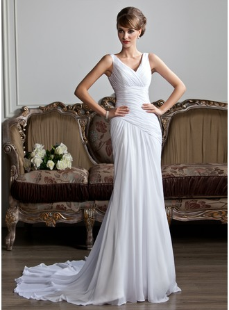 A-Line/Princess V-neck Chapel Train Chiffon Wedding Dress With Ruffle