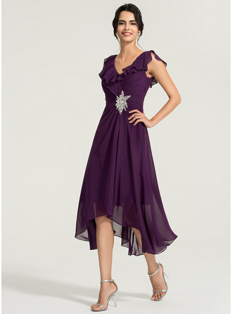 V-neck Asymmetrical Chiffon Cocktail Dress With Beading