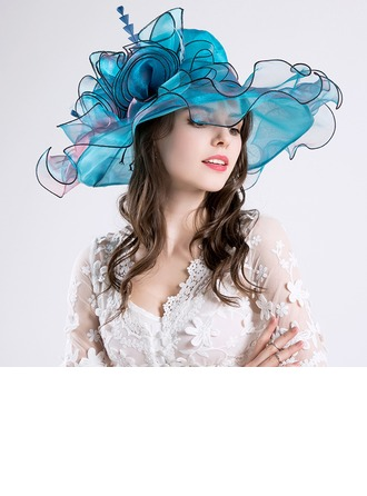 Ladies' Glamourous Cotton/Net Yarn With Silk Flower Floppy Hat
