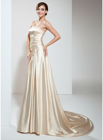 A-Line/Princess Strapless Court Train Charmeuse Wedding Dress With Ruffle Beading