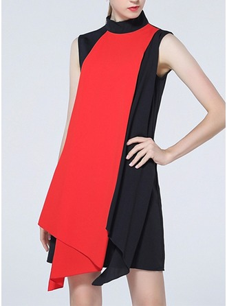 Polyester With Stitching/Print Asymmetrical Dress