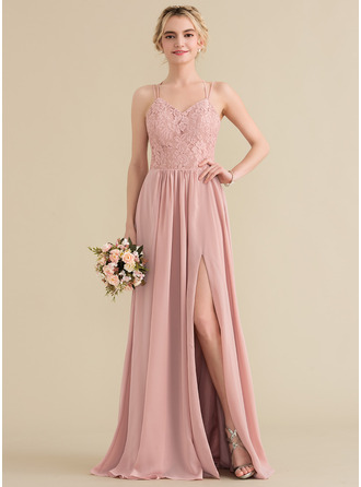 A-Line/Princess Sweetheart Floor-Length Chiffon Lace Prom Dresses With Split Front