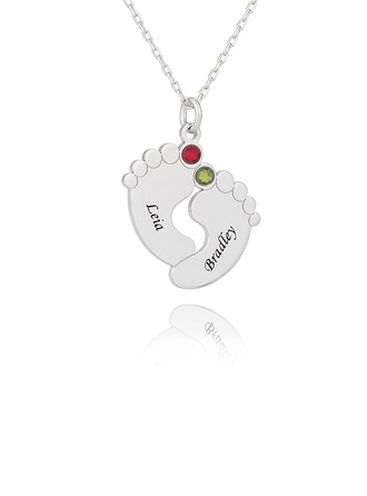 Custom Silver Baby Feet Engraved Necklace Nameplate With Birthstone - Birthday Gifts Mother's Day Gifts