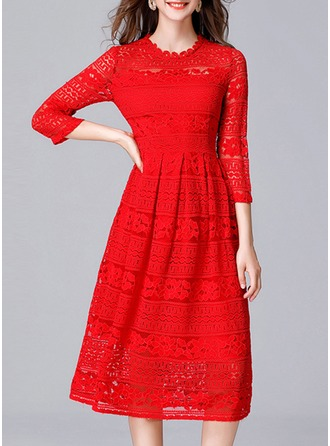 Nylon With Lace/Resin solid color Knee Length Dress