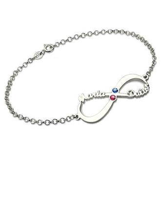 Custom Silver Cubic Zirconia Link & Chain Name Bracelets With Birthstone