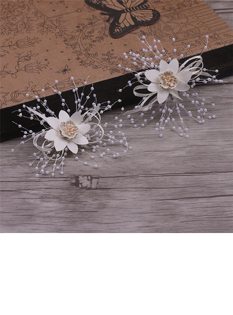 Simple Silk Flower Combs & Barrettes With Venetian Pearl (Set of 4)