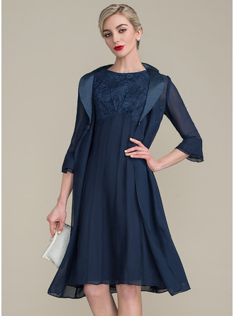 Scoop Neck Knee-Length Chiffon Lace Mother of the Bride Dress With Ruffle