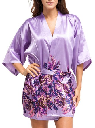 Bride Bridesmaid Polyester With Short Floral Robes