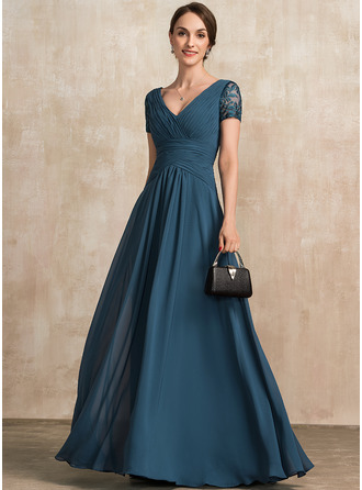 V-neck Floor-Length Chiffon Mother of the Bride Dress With Lace