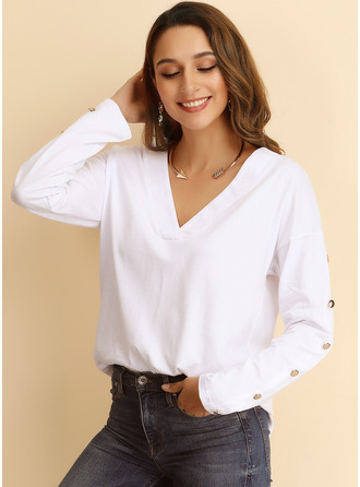 Solid Polyester V-neck Knit Tops Sweaters