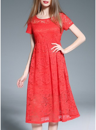 Polyester/Lace mit Lace Midi Kleid
