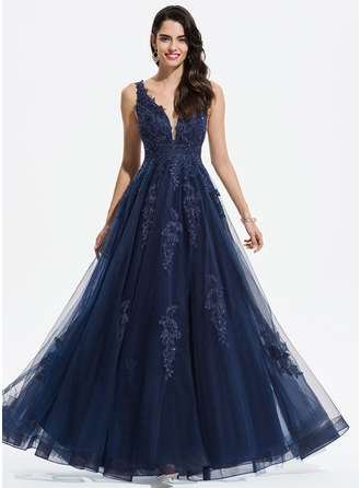 V-neck Floor-Length Tulle Prom Dresses With Lace Sequins