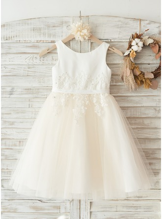Knee-length Flower Girl Dress - Satin Tulle Sleeveless Scoop Neck With Appliques
