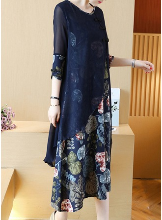 Polyester/Chiffong med Print Midi Kle