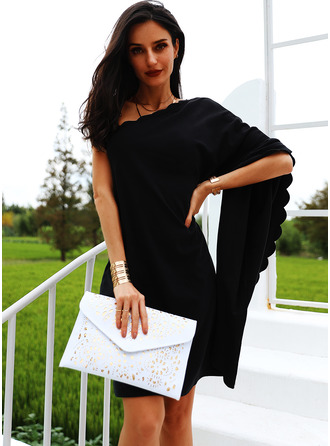 Solid Shift One Shoulder Long Sleeves Batwing Sleeves Midi Casual Little Black Party Tunic Dresses